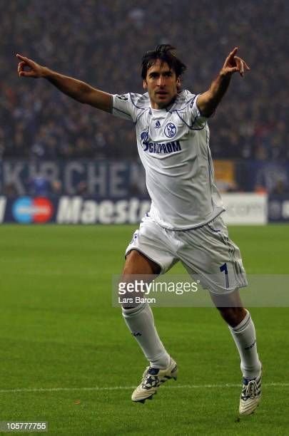 Raul Gonzales of Schalke celebrates after scoring his teams first goal during the UEFA Champions League group B match between FC Schalke 04 and...