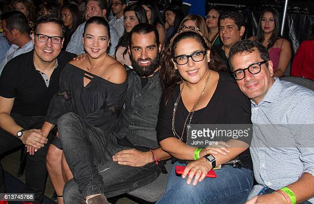 Raul Gonzalez Adamari Lopez Toni Costa Angelica Vale and Otto Padron attend Sin Bandera Concert Tour In Miami at American Airlines Arena on October 9...