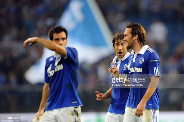 Raul Gonzalez and Christian Fuchs of Schalke celebrate after the UEFA Europa League group J match between FC Schalke 04 and Maccabi Haifa FC at...