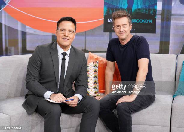 Raul Gonzalez and Edward Norton are seen on the set of Despierta America at Univision Studios to promote the film Motherless Brooklyn on October 9...