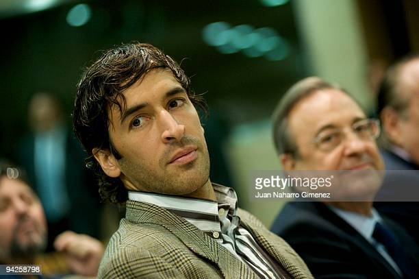 Raul Gonzalez and Florentino Perez attend to the presentation of the musical DVD of the Real Madrid football on December 10 2009 in Madrid Spain