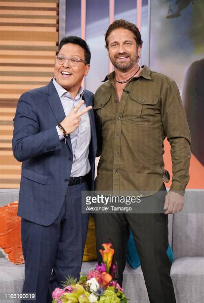 Raul Gonzalez and Gerard Butler are seen on the set of Despierta America at Univision Studios to promote the film Angel Has Fallen on August 22 2019...