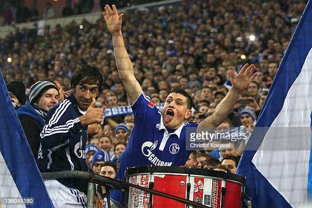 Raul Gonzalez and Kyriakos Papadopoulos of Schalke celebrate after the Bundesliga match between FC Schalke 04 and SV Werder Bremen at Veltins Arena...