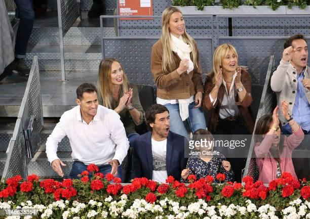 Raul Gonzalez Blanco, above Maribel Nadal, sister of Nadal, Ana Maria Parera, mother of Nadal attend the defeat of Rafael Nadal of Spain against...