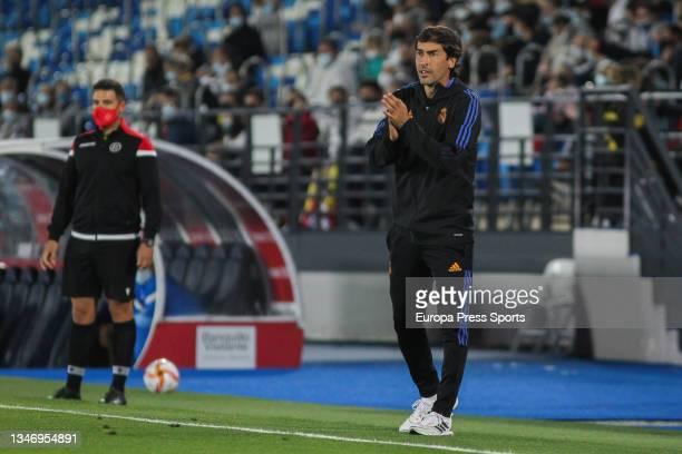Raul Gonzalez Blanco, head coach of Real Madrid Castilla, gestures during Primera RFEF Group 2 football match played between Real Madrid Castilla and...