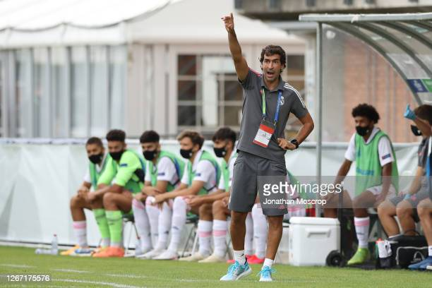 Raul Gonzalez Blanco Head coach of Real Madrid reacts during the UEFA Youth League Quarter Final match between Internazionale and Real Madrid at...