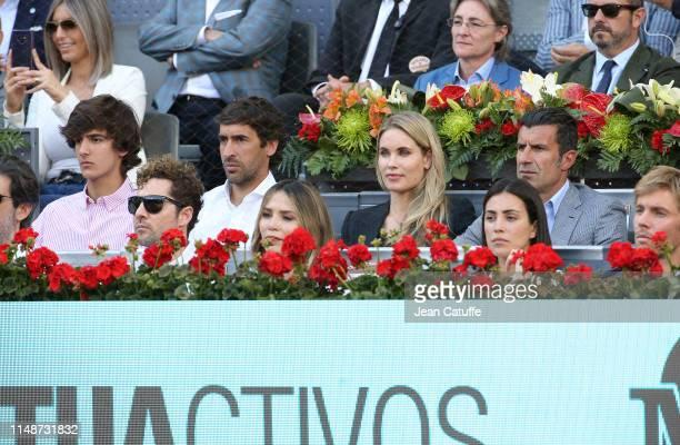 Raul Gonzalez Blanco Luis Figo and his wife Helen Svedin below David Bisbal and Rosanna Zanetti attend the men's final on day 9 of the Mutua Madrid...