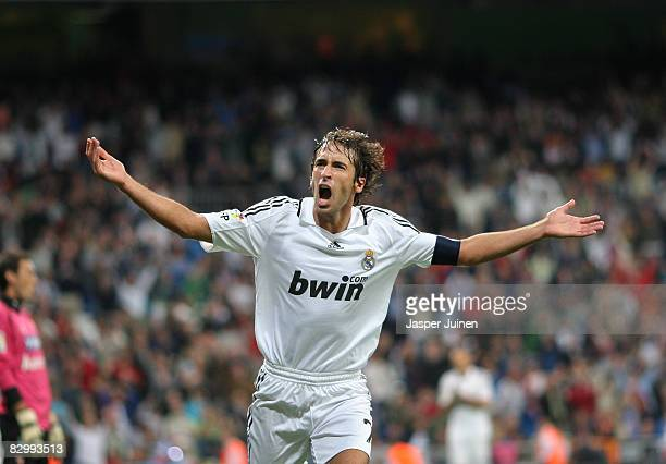 Raul Gonzalez celebrates scoring his second goal the 71 during the La Liga match between Real Madrid and Real Sporting de Gijon at the Santiago...