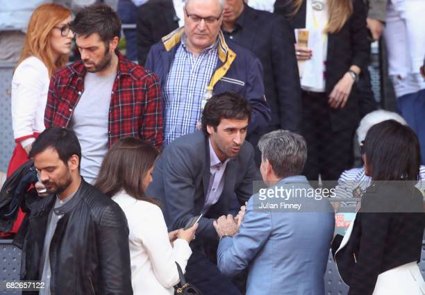 Raul Gonzalez ex Real Madrid player attends the tennis as Rafael Nadal of Spain plays against Novak Djokovic of Serbia in the semi finals during day...