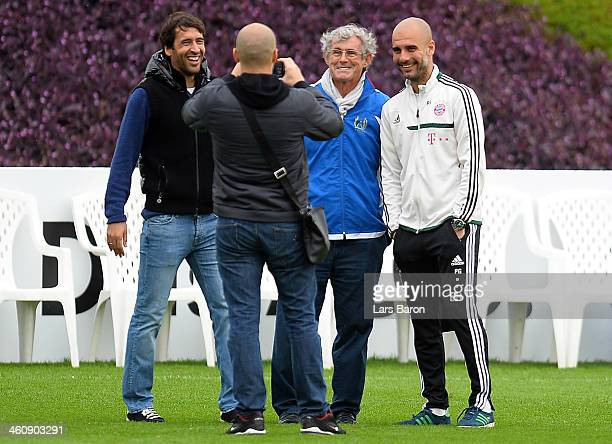 Raul Gonzalez former player of Real Madrid and head coach Josep Guariola pose for a picture during a training session at day 2 of the Bayern Muenchen...