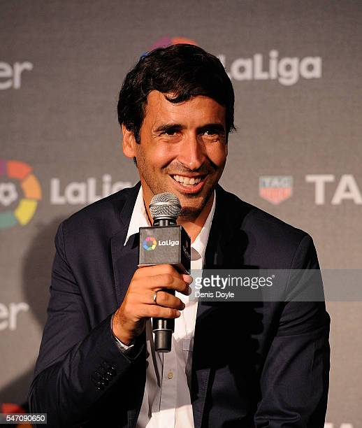 Raul Gonzalez former Real Madrid player and country manager of La Liga in the US answers questions during the press conference to announce TAG Heuer...