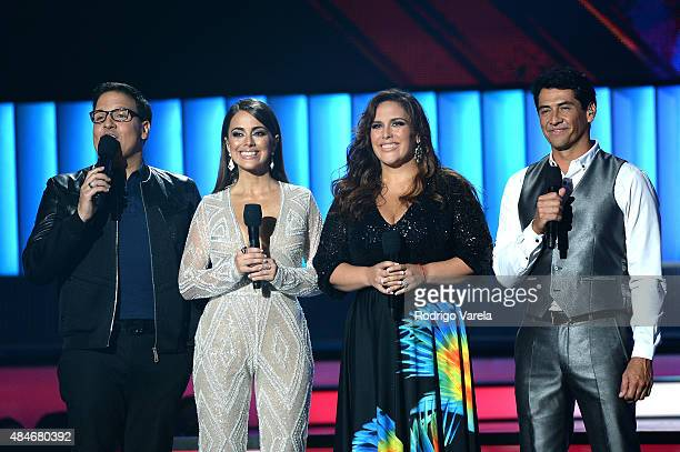 Raul Gonzalez Maria Elisa Camargo Angelica Vale and Gabriel Porras speak onstage at Telemundo's Premios Tu Mundo Awards 2015 at American Airlines...