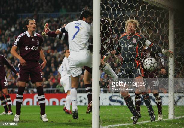 Raul Gonzalez of Madrid scores the third goal during the UEFA Champions League round of sixteen first leg match between Real Madrid and Bayern Munich...