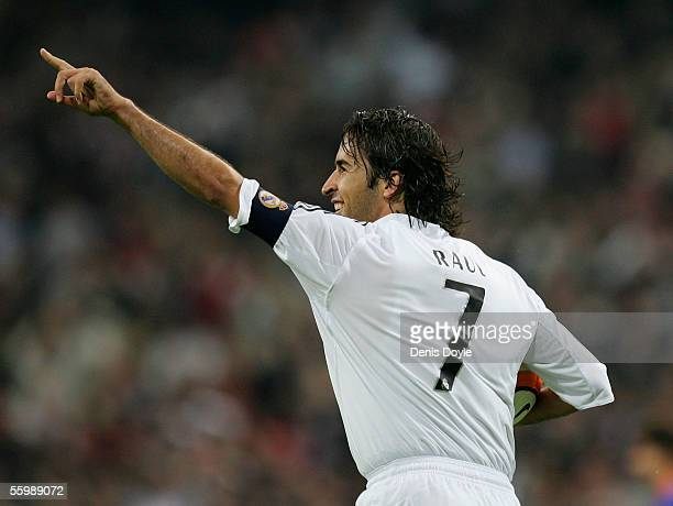 Raul Gonzalez of Real Madrid celebrates after scoring a goal during a Primera Liga match between Real Madrid and Valencia on October 23 2005 at the...
