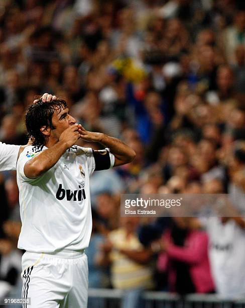 Raul Gonzalez of Real Madrid celebrates after scoring during the La Liga match between Real Madrid and Real Valladolid at Estadio Santiago Bernabeu...