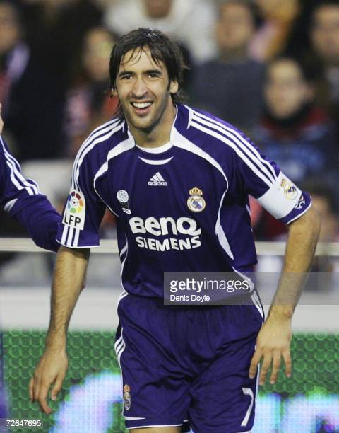 Raul Gonzalez of Real Madrid celebrates after scoring Real's first goal during their La Liga match between Valencia and Real Madrid at the Mestalla...