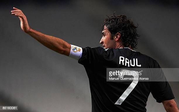 Raul Gonzalez of Real Madrid celebrates his goal during the La Liga match between Espanyol and Real Madrid at the Montjuic Olympic Stadium on...