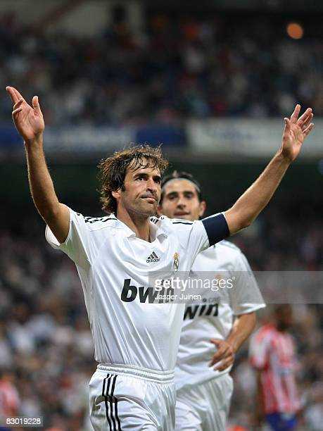 Raul Gonzalez of Real Madrid celebrates scoring his goal during the La Liga match between Real Madrid and Real Sporting de Gijon at the Santiago...