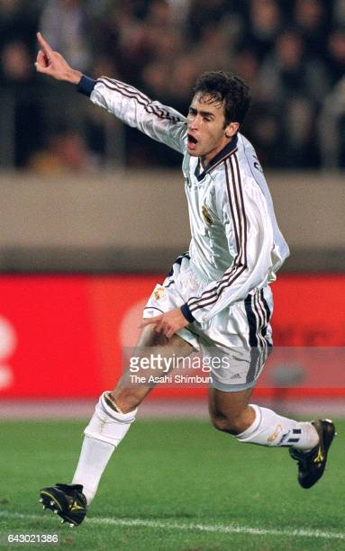 Raul Gonzalez of Real Madrid celebrates scoring his side's second goal during the Toyota Cup match between Real Madrid and Vasco da Gama at the...