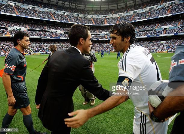 Raul Gonzalez of Real Madrid greets Alberto Contador before the La Liga match between Real Madrid and Xerez CD at Estadio Santiago Bernabeu on...
