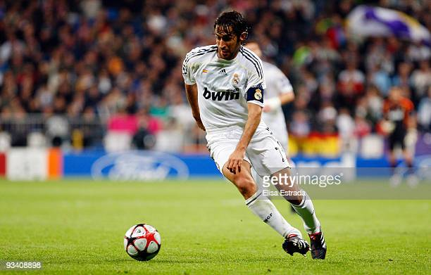 Raul Gonzalez of Real Madrid in action during the UEFA Champions League Group C match between Real Madrid and FC Zurich at the Estadio Santiago...