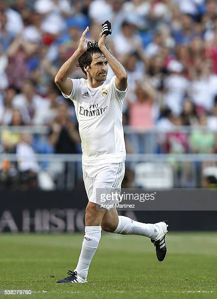 Raul Gonzalez of Real Madrid Legends waves to the fans during the Corazon Classic charity match between Real Madrid Legends and Ajax Legends at...