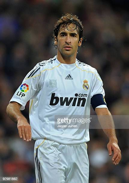 Raul Gonzalez of Real Madrid looks on during the Copa del Rey fourth round second leg match between Real Madrid and AD Alcorcon at the Estadio...