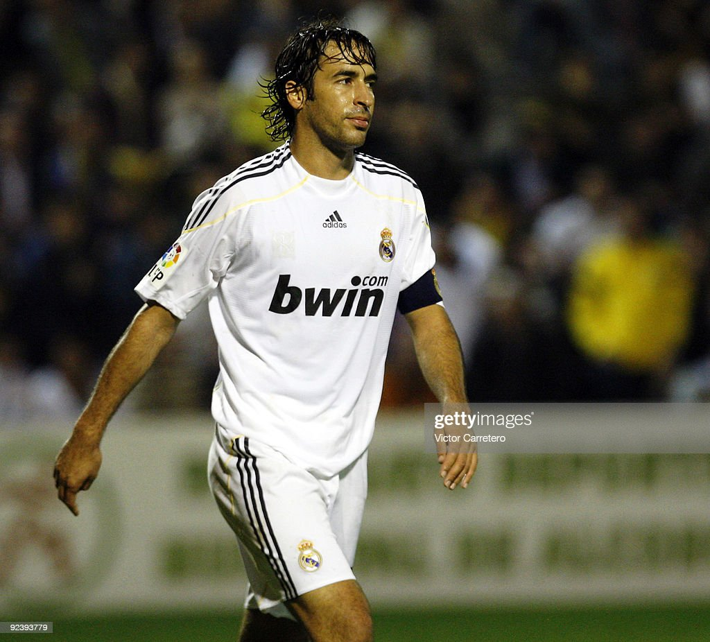 Raul Gonzalez of Real Madrid reacts during the Copa del Rey match between AD Alcorcon and Real Madrid at Municipal de Santo Domingo on October 27, 2009 in Alcorcon, Spain.