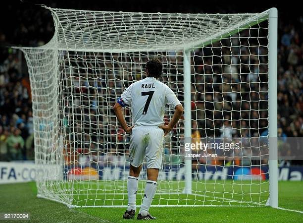 Raul Gonzalez of Real Madrid stands dejected after failing to score during the Champions League group C match between Real Madrid and AC Milan at the...