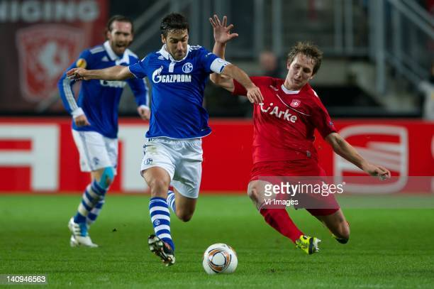 Raul Gonzalez of Schalke 04, Luuk de Jong of FC Twente during the Europa League match between FC Twente and Schalke 04 at the Grolsch Veste on March...