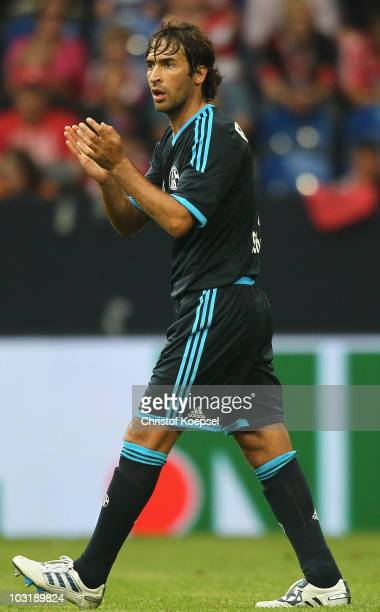 Raul Gonzalez of Schalke applauds his team during the LIGA total Cup 2010 final match between FC Bayern Muenchen and FC Schalke 04 at the Veltins...