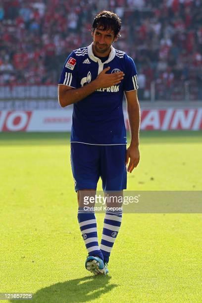 Raul Gonzalez of Schalke celebrates after the Bundesliga match between FSV Mainz 05 and FC Schalke 04 at Coface Arena on August 21, 2011 in Mainz,...