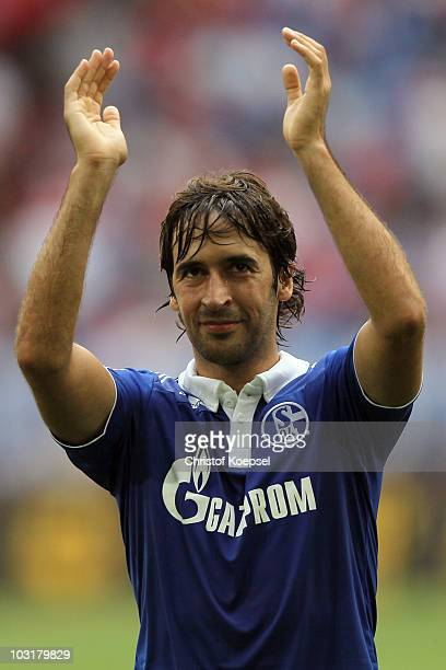 Raul Gonzalez of Schalke celebrates the 21 victory after the LIGA total Cup 2010 match between FC Schalke 04 and Hamburger SV at the Veltins Arena on...