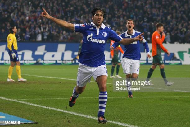 Raul Gonzalez of Schalke celebrates the first goal during the Bundesliga match between FC Schalke 04 and SV Werder Bremen at Veltins Arena on...