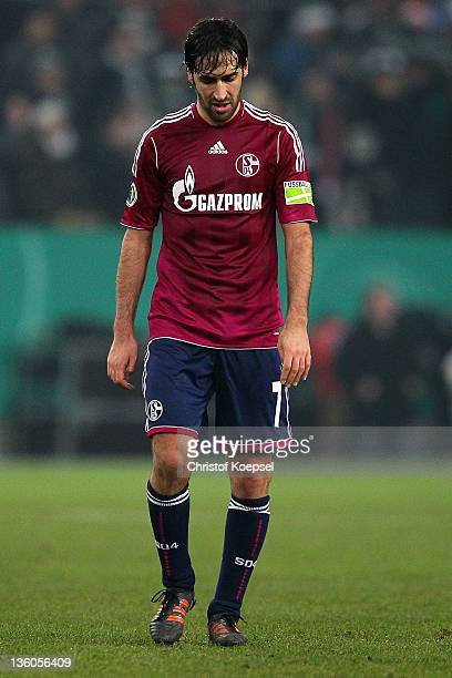 Raul Gonzalez of Schalke looks dejected after the DFB Cup round of sixteen match between Borussia Moenchengladbach and FC Schalke 04 at Borussia Park...