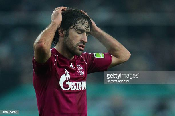 Raul Gonzalez of Schalke looks dejected during the DFB Cup round of sixteen match between Borussia Moenchengladbach and FC Schalke 04 at Borussia...