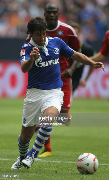 Raul Gonzalez of Schalke runs with the ball during the LIGA total Cup 2010 match between FC Schalke 04 and Hamburger SV at the Veltins Arena on July...