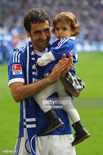 Raul Gonzalez of Schalke says farewell to the fans after winning 40 the Bundesliga match between FC Schalke 04 and Hertha BSC Berlin at Veltins Arena...