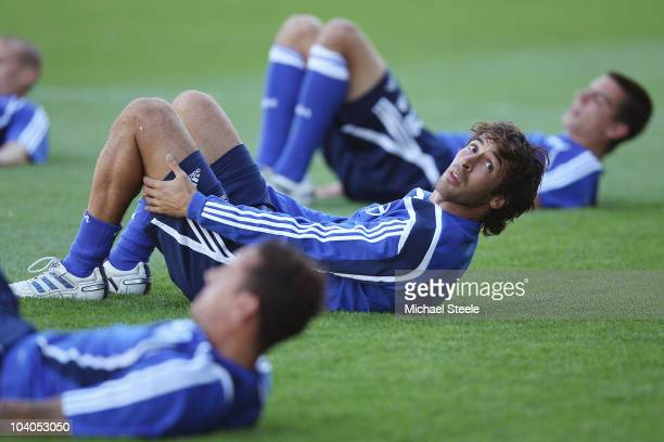Raul Gonzalez of Schalke warms up during the FC Schalke Training session ahead of their Group B UEFA Champions League first phase match against Lyon...