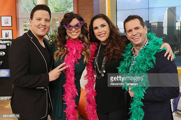 Raul Gonzalez Rashel Diaz Angelica Vale and Diego Schoening are seen on the set of Un Nuevo Dia at Telemundo Studios on October 27 2015 in Miami...