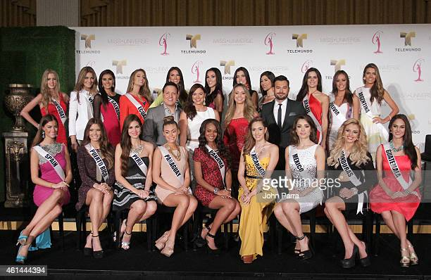 Raul Gonzalez Rashel Diaz Guadalupe Venegas and Jessica Carillo as Telemundo Introduces all Miss Universe Contestants From Latin America And Spain at...