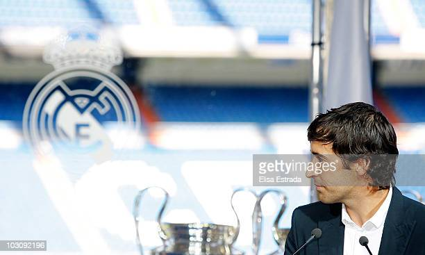 Raul Gonzalez speaks during his official farewell on July 26 2010 in Madrid Spain