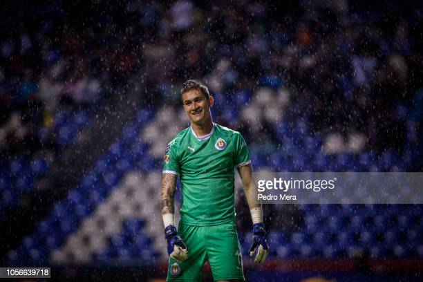 Raul Gudiño goakeeper of Chivas reacts during the 15th round match between Puebla and Chivas as part of the Torneo Apertura 2018 Liga MX at...