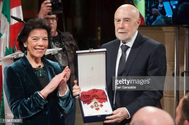 Raul Guerra Garrido receives the 'Gran Cruz De La Orden Civil De Alfonso X El Sabio' Award from Isabel Celaa, Minister of Education and Vocational...