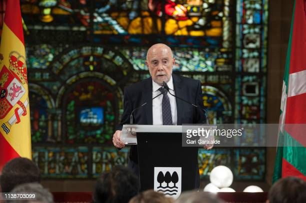 Raul Guerra Garrido speaks after receiving the 'Gran Cruz De La Orden Civil De Alfonso X El Sabio' Award on March 27, 2019 in San Sebastian, Spain.