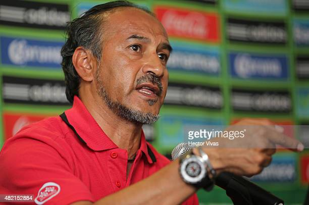 Raul Gutierrez coach of Mexico Pan American men's soccer team speaks during a Mexico press conference at Internacional Benito Juarez Airport on July...
