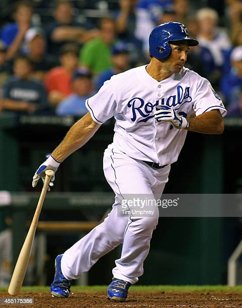 Raul Ibanez of the Kansas City Royals bats in the eighth inning of a game against the Oakland Athletics at Kauffman Stadium on August 12 2014 in...