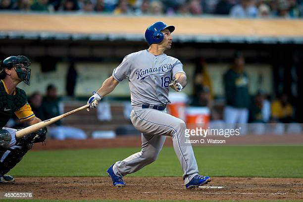 Raul Ibanez of the Kansas City Royals hits a home run against the Oakland Athletics during the fifth inning at Oco Coliseum on August 1 2014 in...