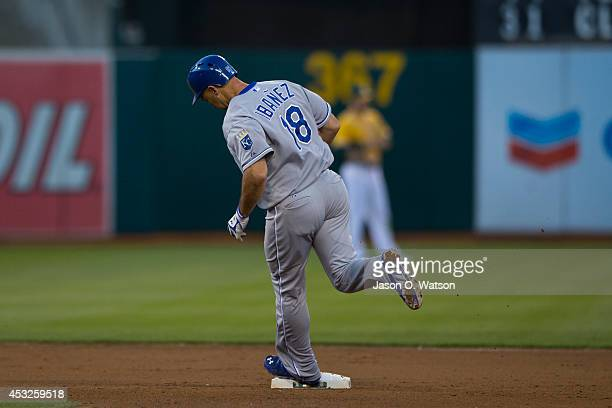 Raul Ibanez of the Kansas City Royals rounds the bases after hitting a home run against the Oakland Athletics during the fifth inning at Oco Coliseum...