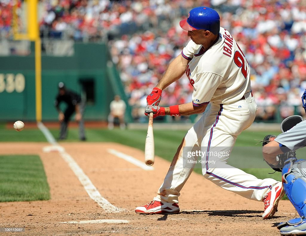 Raul Ibanez #29 of the Philadelphia Phillies hits a tiebreaking RBI single against the Chicago Cubs in the eighth inning on May 20, 2010 at Citizens Bank Park in Philadelphia, Pennsylvania. The Phillies won 5-4.